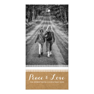 Peace & Love - Christmas Photo Paper White Lace v3 Card