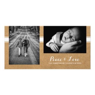 Peace & Love - Christmas Photo Rustic Paper Belt Card