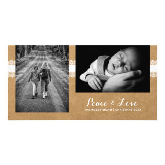 Peace & Love - Christmas Photo Rustic Paper Lace Card
