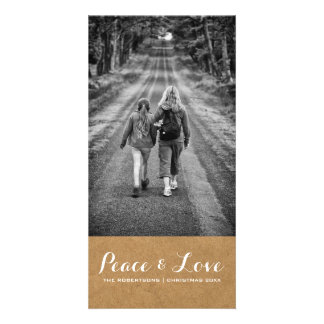 Peace & Love - Christmas Photo Rustic Paper v3 Card