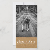 Peace & Love - Christmas Photo Rustic Paper v3 Holiday Card