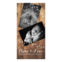 Peace & Love Christmas Photo Wood Lights Card