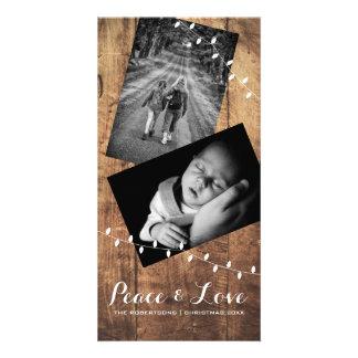 Peace & Love Christmas Photo Wood Lights Card