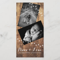 Peace & Love Christmas Photo Wood Lights Holiday Card