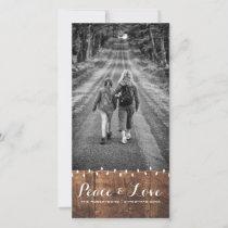 Peace & Love - Christmas Photo Wood Lights Holiday Card