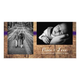 Peace & Love - Christmas Photo Wood Purple Belt Card
