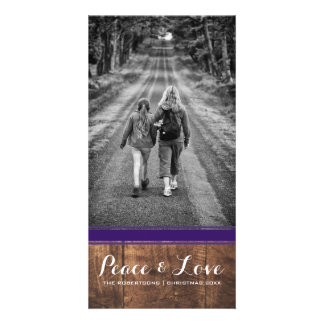 Peace & Love - Christmas Photo Wood Purple Belt v3 Card