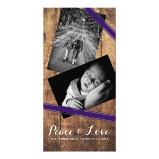 Peace & Love Christmas Photo Wood Purple Belts Card