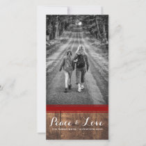 Peace & Love - Christmas Photo Wood Red Belt v3 Holiday Card