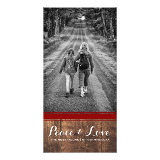 Peace & Love - Christmas Photo Wood Red Belt v3 Photo Card
