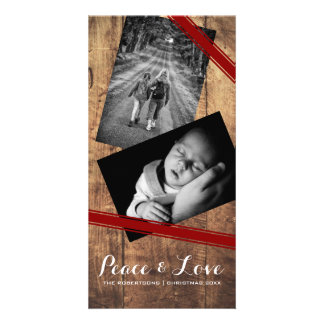 Peace & Love Christmas Photo Wood Red Belts Photo Card