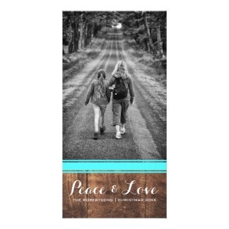 Peace & Love - Christmas Photo Wood Teal Belt v3 Card