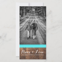 Peace & Love - Christmas Photo Wood Teal Belt v3 Holiday Card