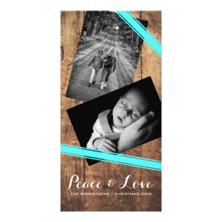 Peace & Love Christmas Photo Wood Teal Belts Photo Card
