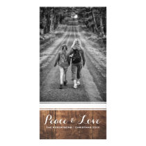 Peace & Love - Christmas Photo Wood White Belt v3 Card