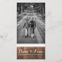 Peace & Love - Christmas Photo Wood White Belt v3 Holiday Card