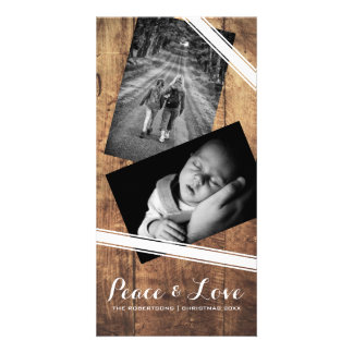 Peace & Love Christmas Photo Wood White Belts Photo Card