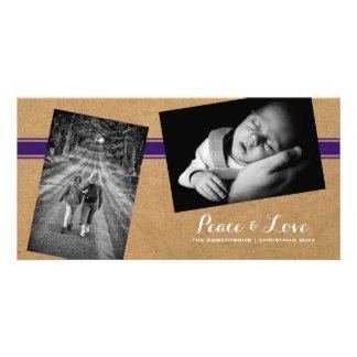 Peace Love Christmas Photos Paper Purple Belt Card