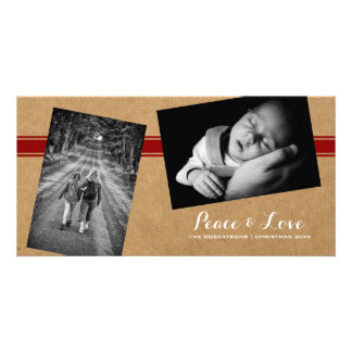 Peace Love Christmas Photos Paper Red Belt Card