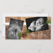 Peace & Love - Christmas Photos Wood Pinecones Holiday Card