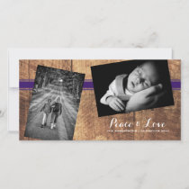 Peace Love Christmas Strewn Photo Wood Purple Belt Holiday Card