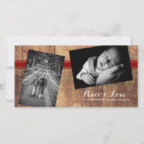 Peace Love Christmas Strewn Photo Wood Red Belt Holiday Card