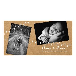 Peace Love Christmas Strewn Photos Paper Lights Card