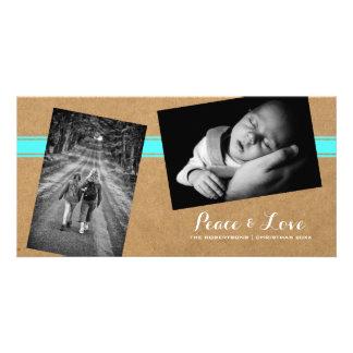 Peace Love Christmas Strewn Photos Paper Teal Belt Card