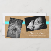 Peace Love Christmas Strewn Photos Paper Teal Belt Holiday Card