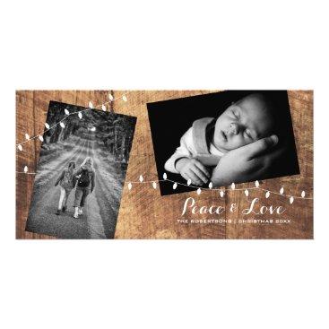 Christmas Themed Peace Love Christmas Strewn Photos Wood Lights Card