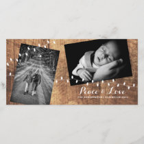 Peace Love Christmas Strewn Photos Wood Lights Holiday Card