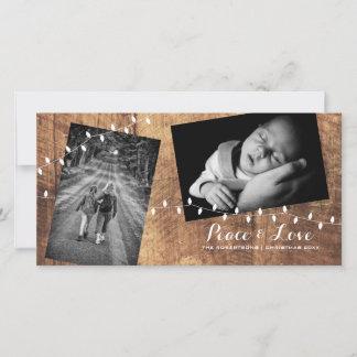 Peace Love Christmas Strewn Photos Wood Lights Holiday Card