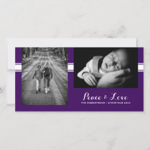 Peace & Love - Christmas Wishes Photo -Purple Belt Holiday Card