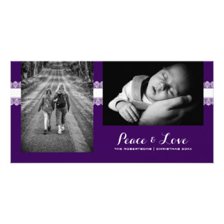 Peace & Love - Christmas Wishes Photo -Purple Lace Card
