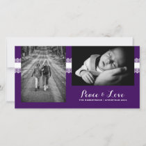 Peace & Love - Christmas Wishes Photo -Purple Lace Holiday Card