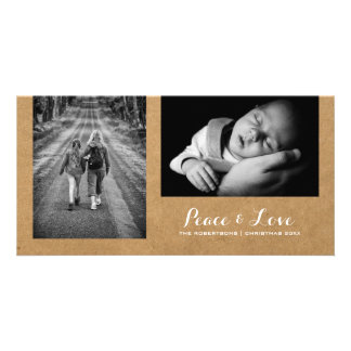 Peace & Love - Christmas Wishes Photo Rustic Paper Card