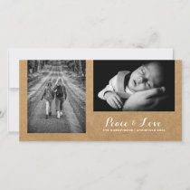 Peace & Love - Christmas Wishes Photo Rustic Paper Holiday Card