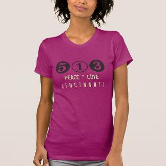 Peace Love Cincinnati 513 Area Code T-Shirt