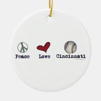 Peace Love Cincinnati Christmas Ornament