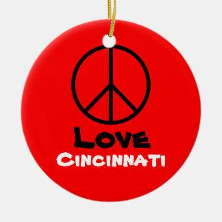 Peace Love Cincinnati Christmas Ornament (Orange)