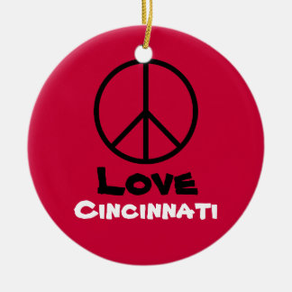 Peace Love Cincinnati Christmas Ornament  (Red)