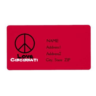 Peace Love Cincinnati Custom Avery Labels