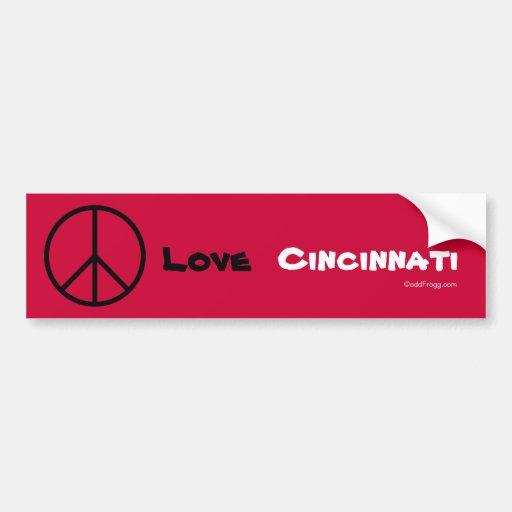 Peace Love Cincinnati Custom Bumper Sticker (Red)