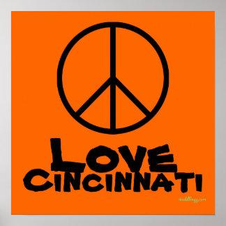 Peace Love Cincinnati Custom Poster Art (Orange)