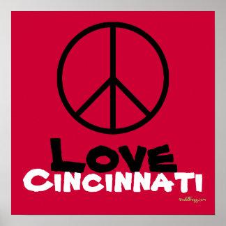 Peace Love Cincinnati Custom Poster Art (Red)