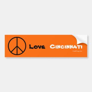 Peace Love Cincinnati Orange Bumper Sticker
