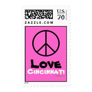 Peace Love Cincinnati Pink Postage Stamp