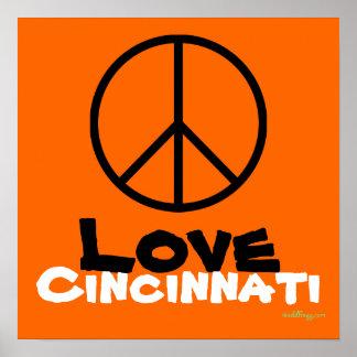 Peace Love Cincinnati Poster Art (Orange)