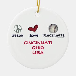 Peace Love Cincinnati USA Christmas Ornament