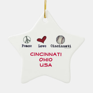 Peace Love Cincinnati USA Christmas Star Ornament